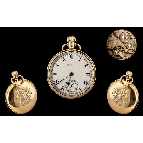 32 - American Watch Company Waltham - Gents Signed 9ct Gold Keyless Open Faced Pocket Watch with Secondar...