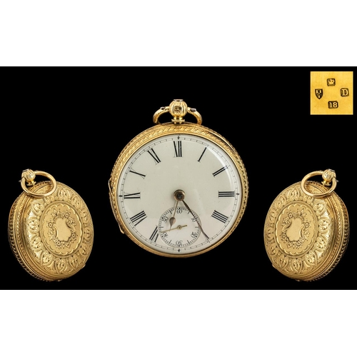 33 - Victorian Period Superb 18ct Ornate Gold - Open Faced Pocket Watch with Ornate Chased Decoration to ...