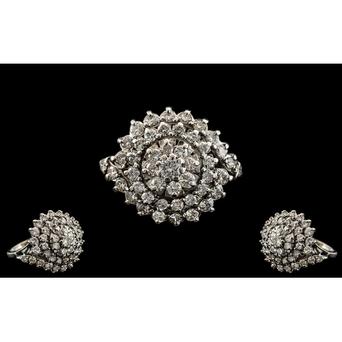 33A - 18ct White Gold - Magnificent Diamond Set Cluster Ring of Large Proportion. Flower head Setting / De...