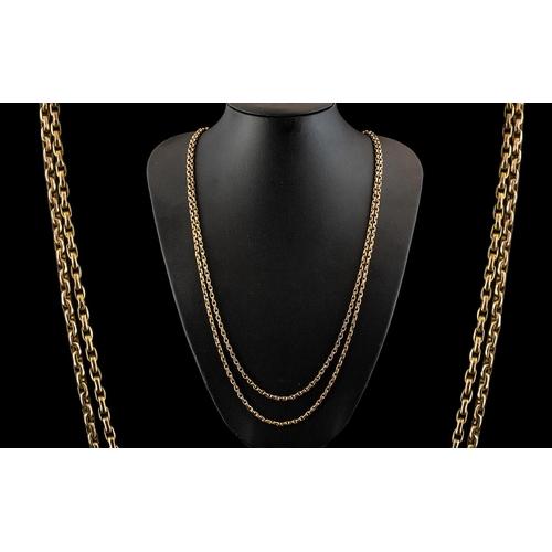 34 - Victorian Period - Attractive 9ct Gold Muff Chain, Diamond Cut Belcher Design, Marked 9ct. All Aspec...