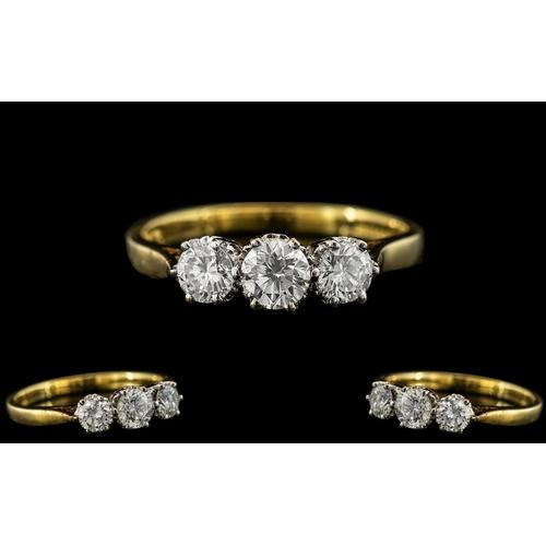 36A - 18ct Gold - Nice Quality 3 Stone Diamond Set Ring. The 3 Modern Round Brilliant Cut Diamonds of Top ...