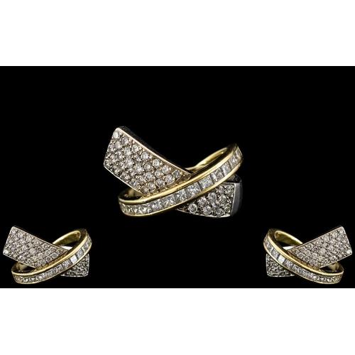 37 - Ladies - Superb Designer Diamond Set Dress Ring, Set with High Grade Modern Round Brilliant Cut and ...