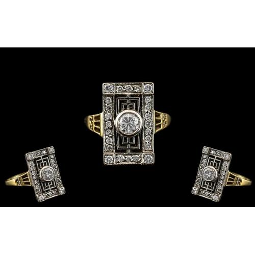 4 - Art Deco Period - Attractive 18ct Yellow Gold and Platinum Diamond Set Dress Ring. Excellent Design ...