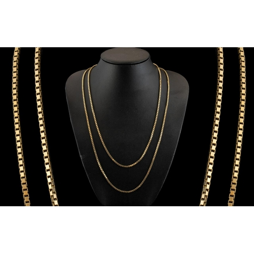 41 - A Fine Quality Pair of Solid 9ct Gold Box-Chains of Attractive Form. Both Chains Marked for 9ct. Len...