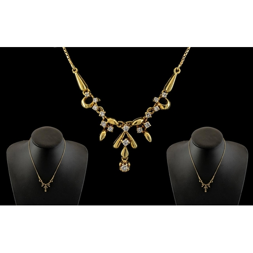 41A - 18ct Yellow Gold - Attractive Diamond Set Ornate Pendant Drop with Attached 9ct Gold Later Chain. Bo...
