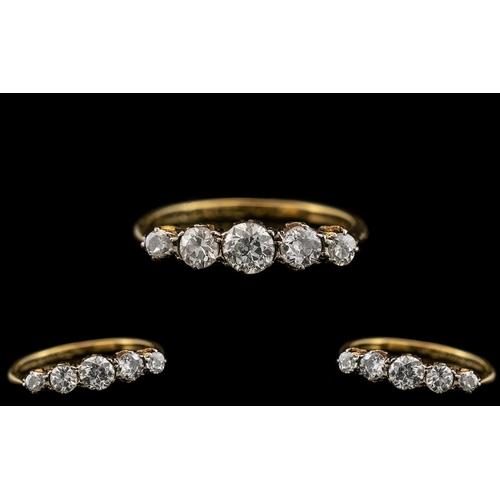 42 - 18ct Gold - Attractive 1920's 5 Stone Diamond Set Ring - In a Gallery Setting. The 5 Semi-Cut Cushio...