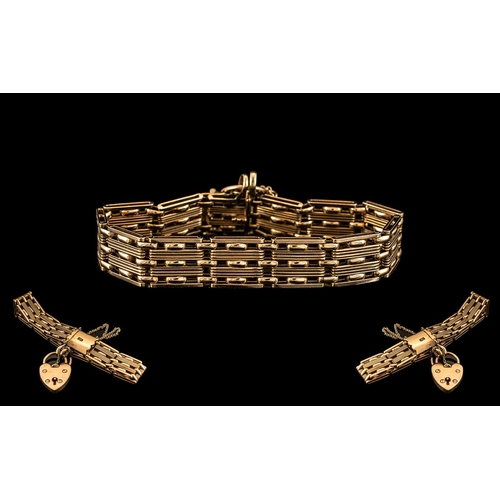 44 - Antique Period Superb Quality 15ct Gold Bracelet with Safety Chain and Heart Shaped Padlock. Excelle...