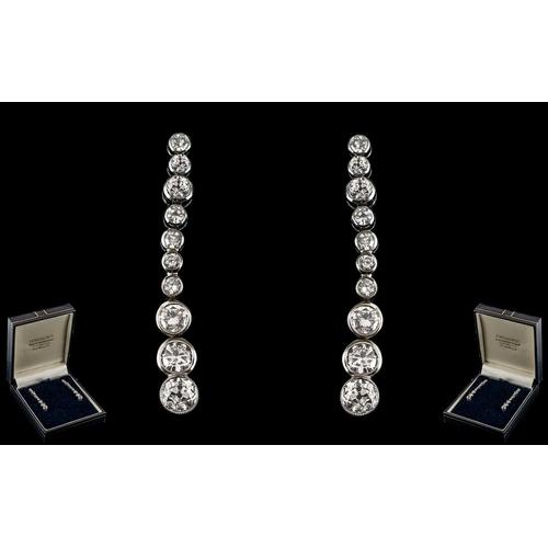 5 - Edwardian Period Stunning 18ct White Gold Diamond Set Pair of Graduated Drop Earrings of Wonderful F...