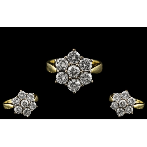 6 - 18ct Gold - Attractive 7 Stone Diamond Set Cluster Ring - Flower head Design. Full Hallmark for 750 ...
