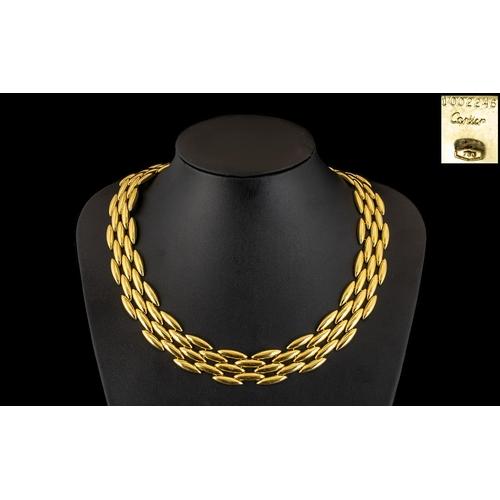 9 - Cartier - An 18ct Gold Gentiane Collection - Stunning Torpedo Chain Link - Five Row Articulated Chok...