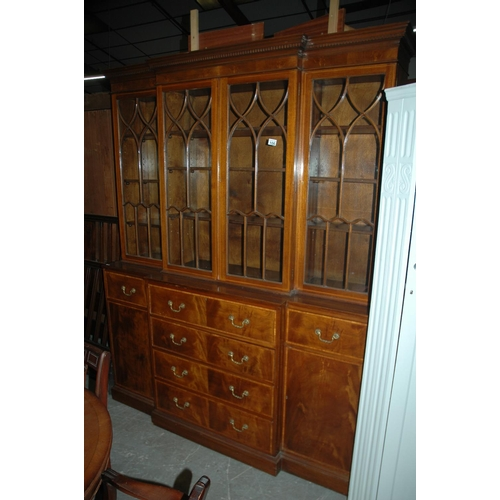 106 - Breakfront glazed secretaire bookcase...
