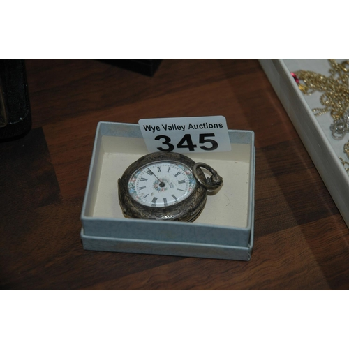 345 - Silver cased fob watch...