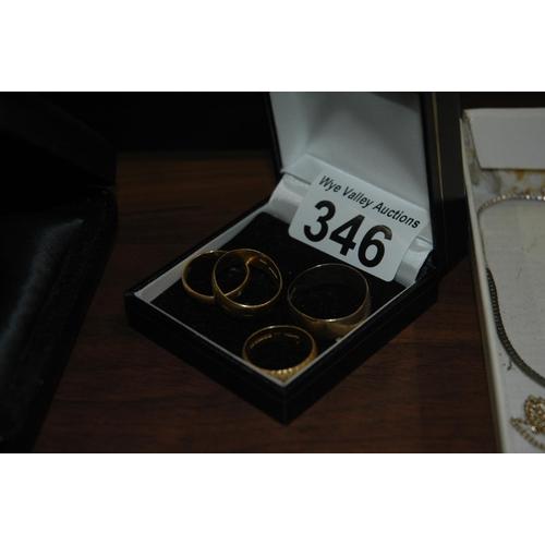 346 - 4 gold wedding rings...