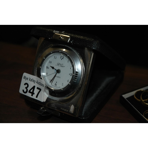 347 - Sterling silver travel clock...