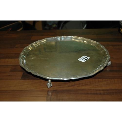 322 - Sterling silver tray, Sheffield h'mark, 914g...