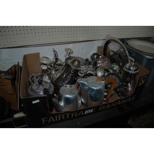 Box of silverplate etc