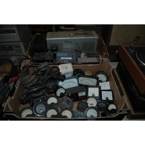 2 boxes of misc vintage electrical items
