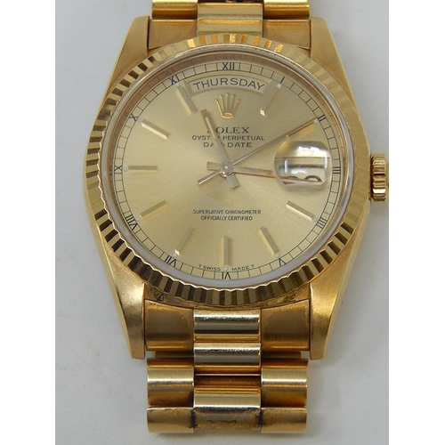 Rolex Gentlemans 18ct Gold Rolex Day Date Wristwatch 1990