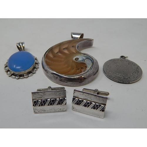5 - Pair of Silver Cufflinks together with two silver mounted pendants & a further pendant...