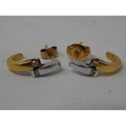 7 - Pair of 18ct Diamond Yellow & White Gold Hallmarked Earrings. 3g....