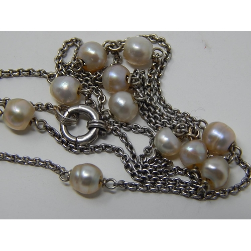 10 - A Fine Silver & Baroque Pearl Necklace together with a pair of gilt & pearl ear studs...