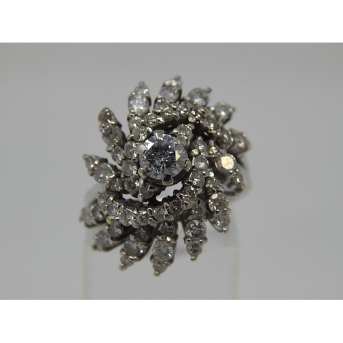 25 - 18ct White Gold Diamond Cocktail Ring Inset with 4.5ct of Diamonds. The Diamonds of Excellent Colour...