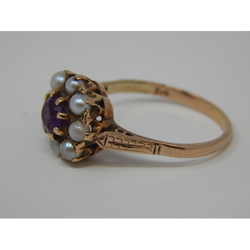 40 - 9ct Gold Ring set central Amethyst & Eight Pearl Surround. Size P....
