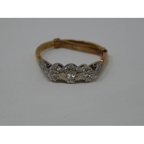 44 - 18ct Gold Three Stone Diamond Ring in Fitted Ring Box. Size M...