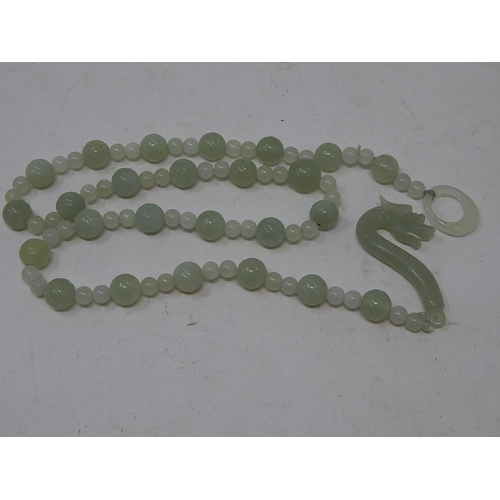53 - Chinese Jade Necklace with Dragon Head Clasp....