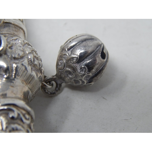41 - Victorian Tests Silver Combined Rattle with All Three attached Bells & Whistle with Ivory Teether: D...