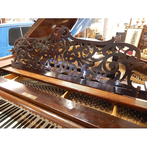407 - RONISCH: Late 19th Century Ronisch Rosewood Grand Piano c.1890 with Brass Adornments & Turned Bulbou...