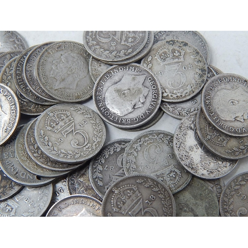 7 - Collection of over 50 x Silver Threepences Victoria-George VI...