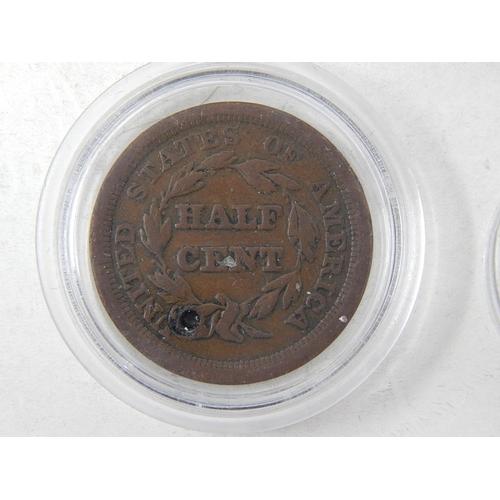 15 - USA Half Cent Braided Hair 1851; Large Cents  1822, 1847, 18??(2); Half Dime 1850...