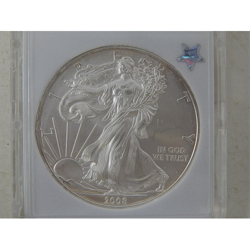 49 - USA 2008 American Silver Eagle slabbed and graded MS69...