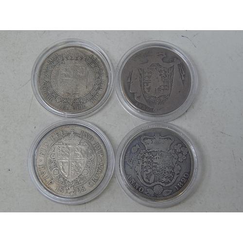 59 - George III Silver Halfcrown 1820, William IV Silver Halfcrown, Victoria JH Silver Halfcrown 1888, Vi...