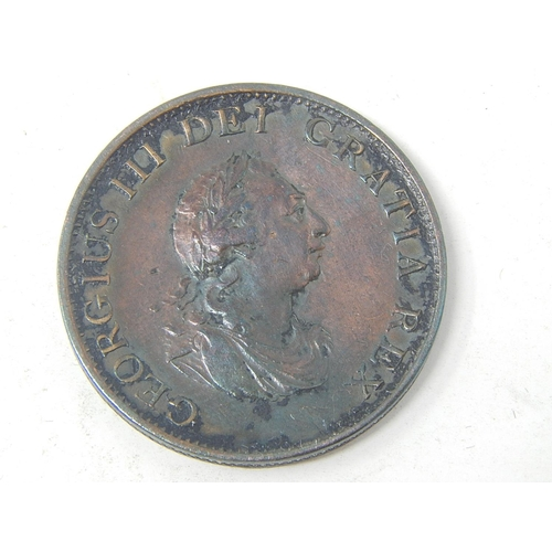 George III Copper Soho Halfpenny 1799 a stunning example Extremely Fine and exquisitely toned