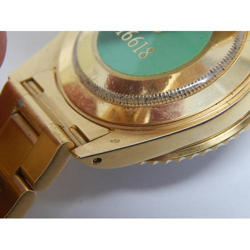 150 - 18ct GOLD ROLEX SUBMARINER DATE 16618: The Case, Bracelet & Bezel in 18ct Gold, Blue Bezel & Electri...