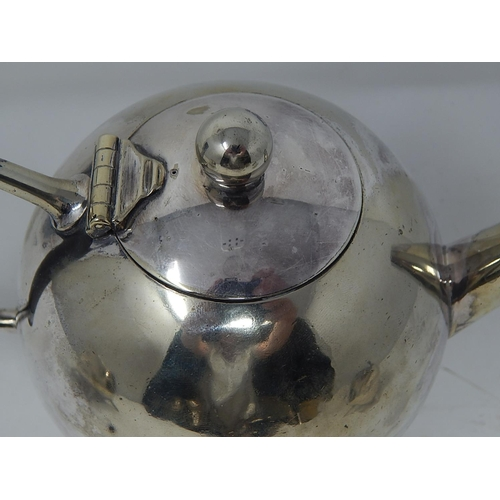 151 - RARE: CHRISTOPHER DRESSER (1834-1904) ELECTROPLATED TEA SET COMPRISING: TEAPOT, SUGAR BOWL & MILK JU...