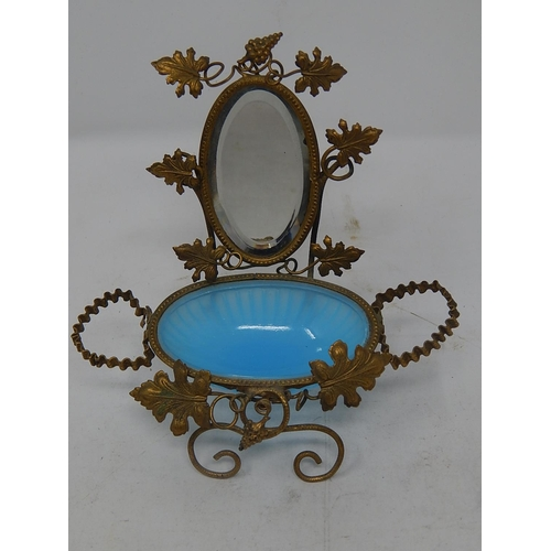 C19th French Miniature Dressing Table Accessory with Gilt Metal Foliate Mounts, Blue Vaseline Glass Bowl & Bevelled Oval Mirror: Measures 13cm high x 13cm wide.