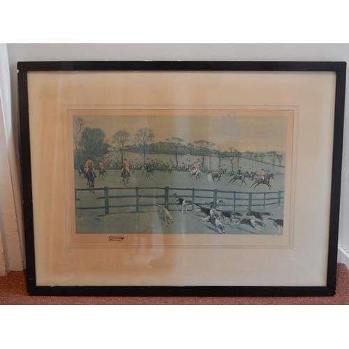 Large 1920's Hunting Print: Framed & Glazed: Measuring 90cm x 67cm