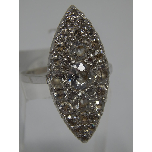 299 - Art Deco White Gold Tests 18ct Diamond Set Ring. Total Diamond Weight Estimated at 3.00cts: Principa...