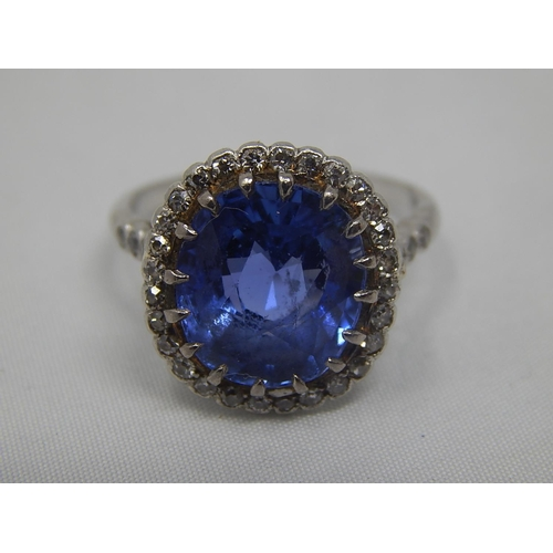 300 - Antique Sapphire & Diamond Set Ring in White Gold Testing as 18ct: The Pale Blue Natural Sapphire Es...