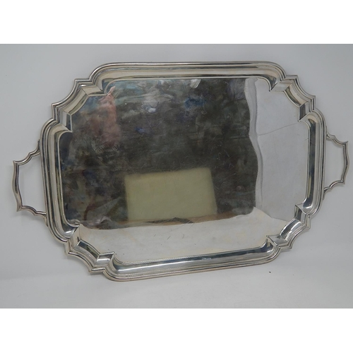 329 - Antique Silver Serving Tray (Not Engraved) Hallmarked London 1916 by Goldsmiths & Silversmiths: Meas...