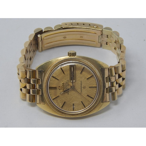 404 - 18ct Gold Omega Automatic Chronometer Constellation Gentleman's Wristwatch with Day/Date Apertures &...