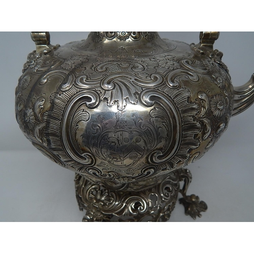 422 - HUGE Early Victorian Silver Tea Kettle of Outstanding Quality with Original Stand & Burner: Hallmark...
