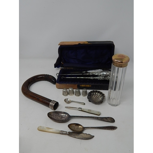 Quantity of Georgian & Later Hallmarked Silver & Silver Mounted Items. Various Dates & Makers