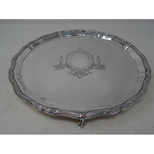 George V silver salver, Sheffield 1927, 31cm diameter, Mappin & Webb, 27oz