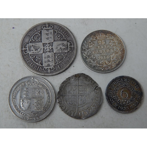 5 - Elizabeth I Hammered Silver coin; Victoria Jubilee Head Silver Shilling 1887; Victoria Gothic Florin...