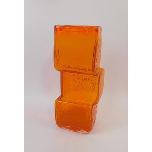 A Whitefriars Geoffrey Baxter Design Tangerine Glass Vase In The