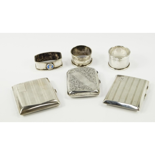 31 - A George V silver cigarette case, with engine turned decoration, Chester 1929, cigarette case with f...